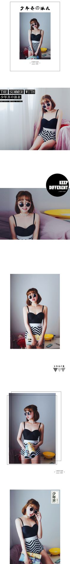 Qi juvenile black and white hit color wave high waist was thin steel prop gather swimsuit female spa triangle piece swimsuit - Taobao
