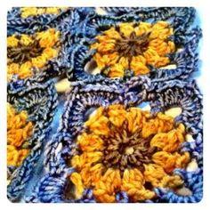 -Gorgeous crochet sunflower squares. by rosanna