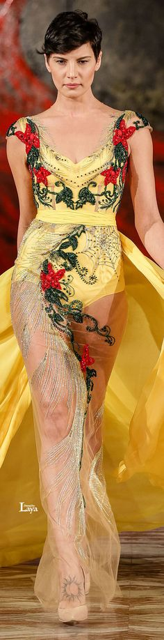 TOUFIC HATAB S/S 2015 Couture Collection Couture, Turkish Fashion, Yellow Fashion, Mellow Yellow, Couture Dresses, Yellow Dress, Beautiful Gowns, Passion For Fashion, Dress To Impress