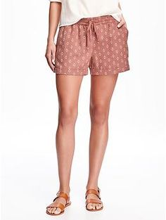 "Cuffed Linen Shorts for Women (3 1/2"") 