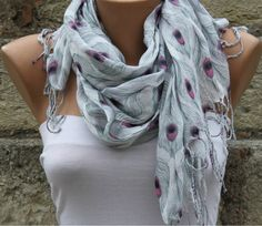 Multicolor  Shawl Scarf  Headband Necklace Cowl by fatwoman, $14.90