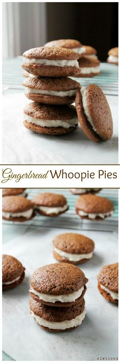 Deliciously spiced Gingerbread Whoopie Pies filled with Vanilla Buttercream Filling.