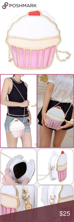 Cupcake Purse New adorable cupcake purse. Holds phone,wallet and keys. Gold chain strap. Bundle and save. Bags Crossbody Bags