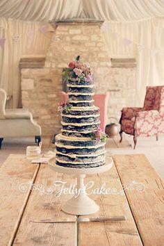 Chocolate Naked Wedding Cake   by www.jellycake.co.uk