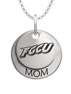 A beautiful layered charm set featuring your school logo on the top charm and MOM on the bottom charm. We use the finest sterling silver and combine with high tech laser technologies to create this personalized collegiate necklace collection.