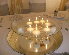 Floating candles in glass bowl over mirror
