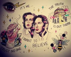 X Files tattoo flash by Ayako tattooing
