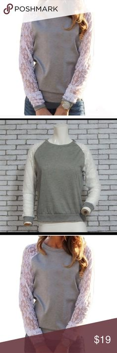 Last one !! Gray sweater with lace sleeves! Comfortable and stylish! This is the last one we have in stock ! Price Drop is Final ✋🏽 Sweaters Crew & Scoop Necks