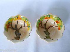 Rare-Art-Deco-2-CARLTON-WARE-Beige-DAY-OAK-Small-Bowls-Open-Salt-Dishes