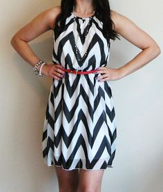 Black and White Chevron Dress Medium Made in USA by LaRoseLilacs, $42.00