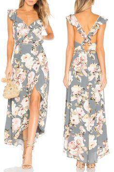 Vestido Mullet Floral Babado Decote V Transpassado   UFashionShop