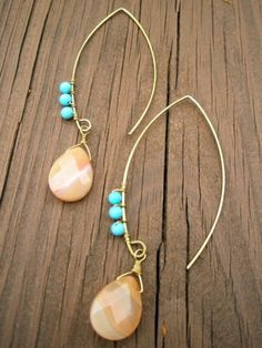Brass Drops w/ Carnelion & Turquoise - another piece - fave!!