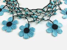 Crochet Necklace Statement Necklace Beaded Necklace Boho