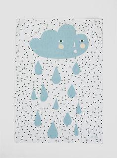 Cloud Tea Towel White & Blue