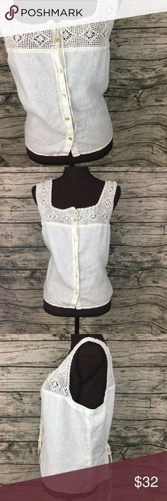 NWT Lauren Ralph Lauren Cream Linen Vest 100% Linen Button Up vest with a crochet top 100% Cotton. Super cute ruching in back, also can be tied tighter or more loose depending on style going for. Lauren Ralph Lauren Tops Button Down Shirts