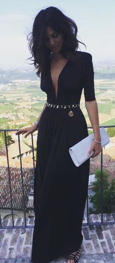 #summer #outfits  Black Maxi Dress   White Clutch