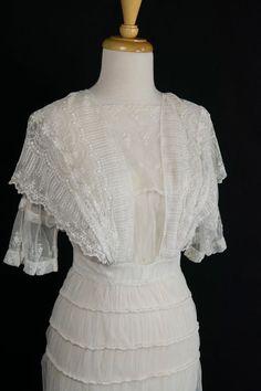 Antique Edwardian Tambour Lace Gown Vintage 1900s Wedding or Tea Dress