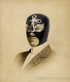 Lucha Libre Sepia Print Portrait of a Luchador Altered par frighten