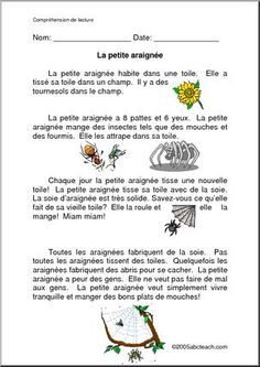 French Reading ComprehensionPrintable Worksheets I abcteach provides over worksheets page 1 French Class, French Lessons, Student Teacher, New Teachers, School Information, Free In French, French Resources, Word Puzzles, French Immersion
