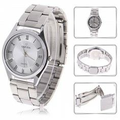$4.30 Original New Fashion OMUJIA 304 Japan Movt Water Resistant Wrist Watch for Male White Chasis with Roman Numerals Indicate Time - Silver