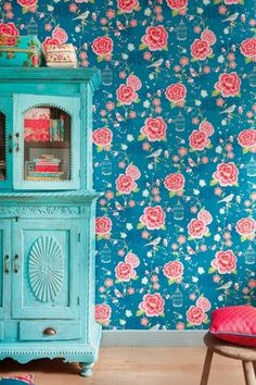 Turquoise dresser. Painted furniture.