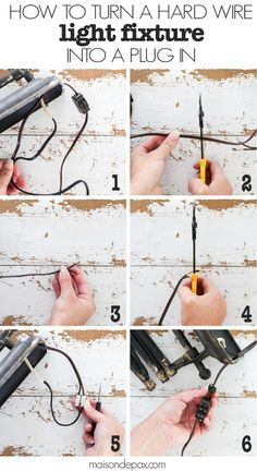 How to turn a Hard Wire Light Fixture into a Plug In: step by step tutorial to create lights and sconces that can be used when you don't have electrical in that location! Plug In Chandelier, Plug In Pendant Light, Plug In Vanity Lights, Outdoor Chandelier, Pendant Lights, Pendant Lamp, Chandeliers, Wire Light Fixture, Outdoor Light Fixtures