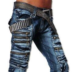 3MU Mens Designer Jeans Pants Denim Stylish Matrix Zip W30 32 34 36 38 L32 J002b #Jeansian #ClassicStraightLeg