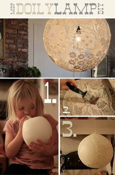 Lace Lamp/Doily Lamp - DIY from Dos Family. Click through for instructions. I adore this idea! It would even look great as just hanging orbs without a bulb. Diy Luz, Doily Lamp, Lace Lampshade, Crochet Lampshade, Diy Lace Lamp, Doily Garland, Fun Crafts, Diy And Crafts, Light Crafts