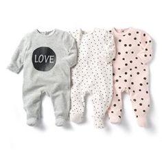 Pyjama à pieds en velours (lot de 3)