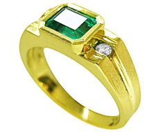 14K gold Emerald Ring for men
