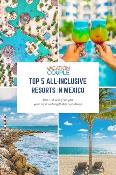 Wondering which all-inclusive resort to choose? Check out these top 5 resorts in Mexico and get vacationing now! Includes information on pools, food, rooms, and more! Mexico Resorts, Mexico Vacation, Cancun Mexico, Mexico Travel, Cancun Resorts, Best All Inclusive Resorts, Family Resorts, Cozumel, Tulum