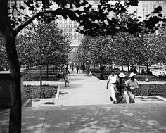 1936: Park visitors stroll past young London Plane trees that line the 40th Street allées. Photo by New York City Parks Photo Archive.