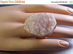 25% Off Vintage Rose Quartz Ring Geode by LynnHislopJewels on Etsy