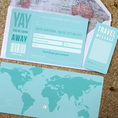 Birthday Boarding Pass with optional map infil by RodoCreative. Are you taking…