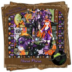 """Halloween is on the way, but YOU don't have to wait for a virgin to light a candle to get your witch on!  Just wave your mouse and say """"Hocus Pocus"""" and you're on the way to same great Halloween layouts!  This kit comes with 12 (3600 x 3600 pixel, .jpg) patterned papers and 40 .png elements. 300 DPI. Personal use only."""