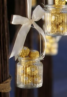 Use old jam jars and #ribbon filled with velvety #FerreroRocher to share with your guests