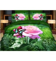 3D Effect Complete Set with Fitted Sheet and 2 Pillowcases Roses and Diamond ring 009 Double Complete