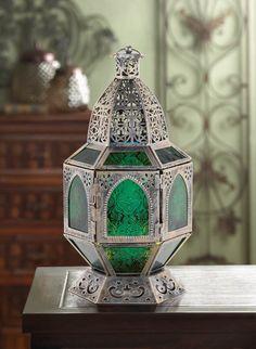 vintage style silver green & blue pressed glass Moroccan Lantern Candle holder #generic #Tealightvotiveorpillarcandleholder