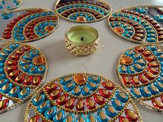 Kundan floor art / Indian Rangoli / Wedding Centerpiece / Diwali Decoration