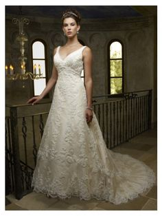 Dazzling V-Neck Taffeta and Lace A-line Wedding Dress with Hand Beadwork and Embroidery