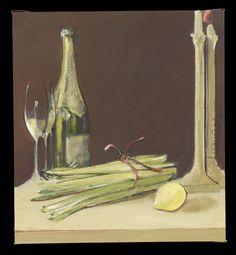 "George Dureau (American/Louisiana, 1930-2014), ""Still Life with Champagne, Lemon and Asparagus"", oil on gallery-wrapped canvas, signed lower right ""Dureau"", 22"" x 20"". Unframed"