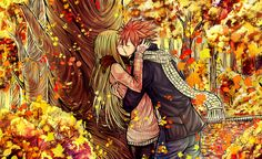 OMG I love this artwork! The Autumn colors are beautiful!! ~ Natsu and Lucy kissing in the middle of a forest, how adorables <3 ~ Nalu ~ Fairy Tail ~ Gorgeous Artwork By: LeonS