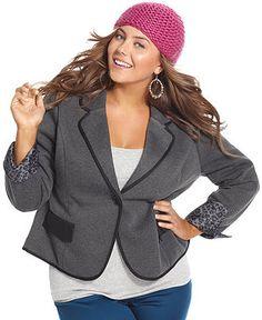 Dollhouse Plus Size Jacket, Single-Button Blazer - Junior Plus Size - Plus Sizes - Macy's