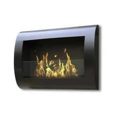 This wall mounted, gracefully curved Chelsea model by Anywhere Fireplace™ has a smooth silhouette that will blend beautifully in any space and with any décor. The dancing flames from this eco-friendly structure give off a warm, mellow and luxurious atmosphere.