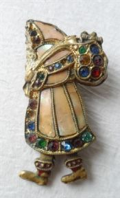 Vintage Father Christmas Santa Brooch Badge Pin Mother of Pearl Multi Coloured Stones Circa 1930s 1940s Costume #FollowVintage