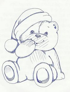 Urso                                                                                                                                                                                 Mais Art Drawings For Kids, Pencil Art Drawings, Disney Drawings, Cute Drawings, Drawing Sketches, Cute Coloring Pages, Christmas Coloring Pages, Coloring Books, Applique Templates
