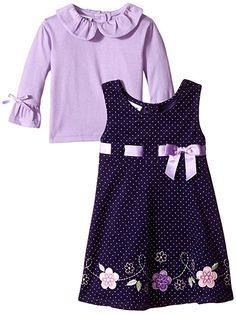 Blueberi Boulevard Little Girls' Flower Cord Jumper, Purple, 2T
