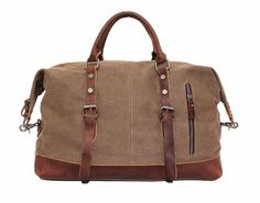 Handmade Leather Trimmed Waxed Canvas Travel Bag Duffle Bag