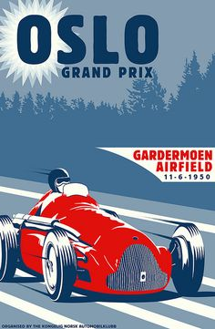 A (fictional) poster for the 1950 race held at Gardermoen Airfield, Norway.  Originally designed for use in the Grand Prix Legends racing sim, it's been reworked into a full-size poster version.
