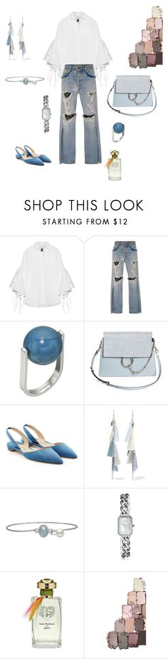"""""""Distressed denim!"""" by futuraocculto ❤ liked on Polyvore featuring Facetasm, Jonathan Simkhai, French Connection, Chloé, Paul Andrew, Chan Luu, Chanel, Maitre Parfumeur et Gantier, white and teal"""